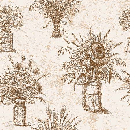 decrepit: Hand drawn pattern  with various bouquets of wildflowers,  cereals and dried herbs  in rustic style. Seamless texture. Illustration