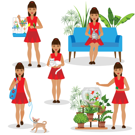 rabbit cage: Girl with pets set. A girl in red dress holding rabbit and cat, walks with the dog, feed the fish and budgies.