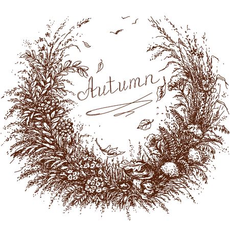Hand drawn floral frame of plants which associate with autumn.  Sketch of grass, flowers,  branch of rowan, mushrooms, dried herbs   and falling leaves. Inscription autumn is in the center of image. Illustration