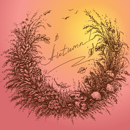 associate: Hand drawn floral frame of plants which associate with autumn.  Sketch of flowers, dried herbs   and falling leaves on colored background. Expression inscription autumn is in the center of image. Illustration