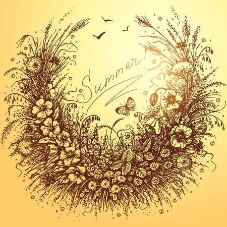 """associate: Hand drawn floral frame of plants which associate with summer. Sketch of grass, flowers, cereals, strawberry and butterfly on yellow. Expression inscription """"Summer!"""" is in the center of image. Illustration"""