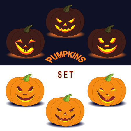 simplified: Six simplified images of Halloween pumpkins with different smiling facial expressions isolated on dark and white. Elements for Halloween design.