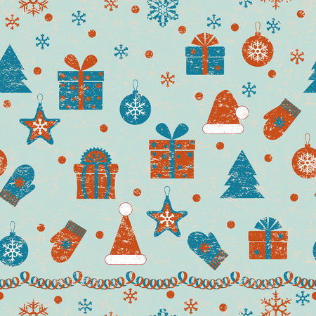 decrepit: Retro pattern   with various  of things which associate with Christmas and New Year holidays. Seamless grunge texture with thin places effect.