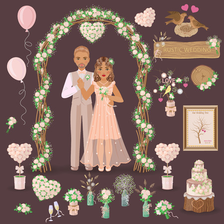 Simplified image of bridegroom in beige suit and bride in cream dress, set of floral elements and another things for wedding design isolated on dark. Wedding decoration in rustic style.
