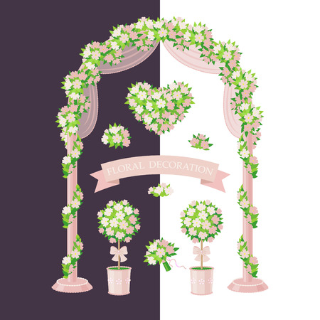 simplified: Set of floral elements isolated on white and dark background. Simplified image of arch, topiary, flower heart and bouquet. Cream color floral decoration for wedding design.