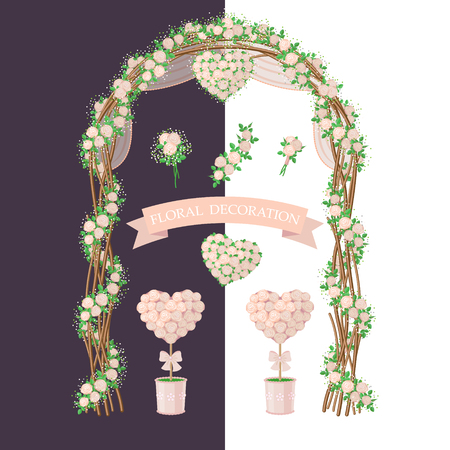 arch: Simplified image of arch, topiary, flower heart and bouquet.  Set of floral elements isolated on white and dark background. Floral decoration  in rustic style for wedding design. Illustration