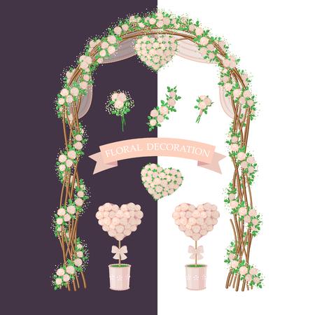Vereenvoudigd beeld van de boog, topiary, bloem hart en boeket. Set van florale elementen op een witte en donkere achtergrond. Bloemendecoratie in rustieke stijl voor bruiloft design.