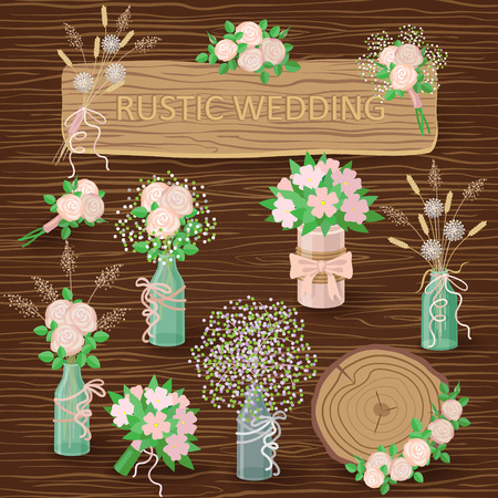 Set of floral elements, bouquets in jars and pots for wedding design on dark wood texture background. Wedding decoration in rustic style.