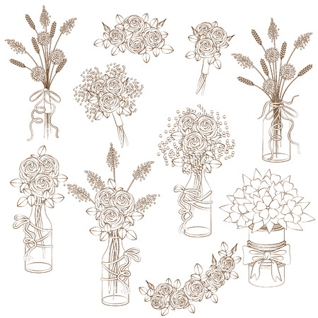 Set of contoured floral elements, bouquets in jars and pots. Wedding decoration in rustic style.