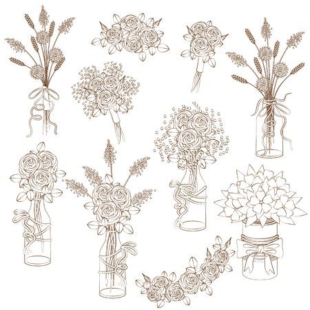 Set van contouren bloemen elementen, boeketten in potten en potten. Bruiloft decoratie in rustieke stijl.
