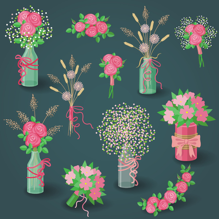 nosegay: Set of pink flowers, floral elements, bouquets in jars and pots on dark background.