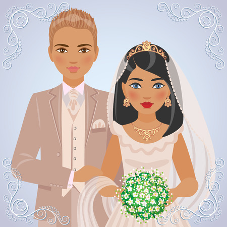 dress suit: The image of blond bridegroom in beige suit and brunette bride in cream dress on light blue background.