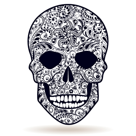 deaths: Black and white floral patterned human skull isolated on white. Illustration