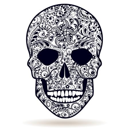muerte: floral blanco y negro cráneo humano aislado en blanco con dibujos.