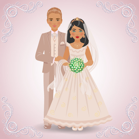 dress suit: The image in full-length of blond bridegroom in beige suit and brunette bride in cream dress on light background. Illustration