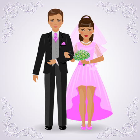 dress suit: The image in full-length of bridegroom in black suit and bride in pink dress on light background.