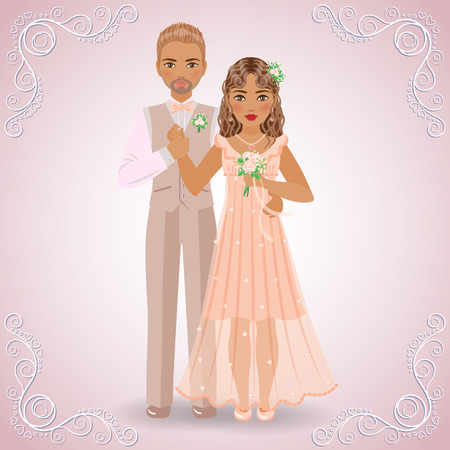 fullbody: The image in full-length of blond bridegroom in beige suit and brown-haired bride in cream dress on light pink background. Illustration