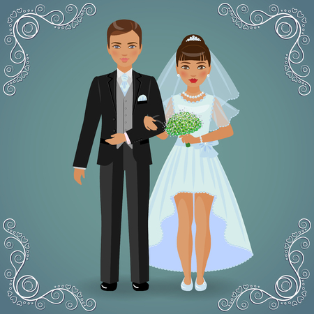 bride dress: The image in full-length of bridegroom in black suit and bride in blue dress on dark background.