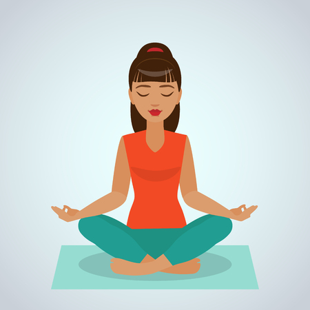 The girl sitting and meditating in the Yoga Lotus  position.