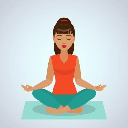 La chica sentada y meditando en posición de loto yoga. Foto de archivo - 47547176