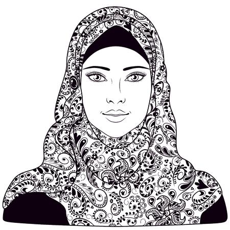 Chica musulmana vestido con hijab. Imagen contorneada en blanco y negro para colorear.