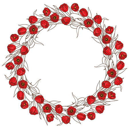 contoured: Hand drawn round frame on white. Contoured wreath of red tulips.