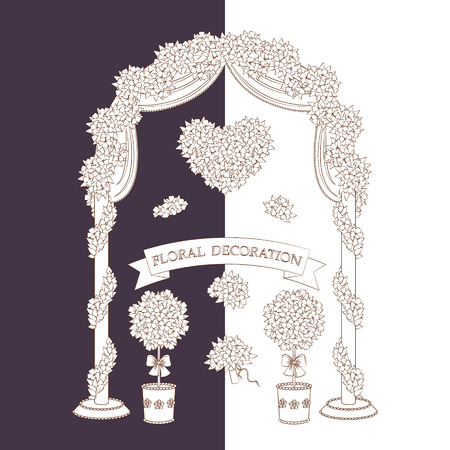 topiary: Contour image of arch, topiary, flower heart and bouquet.  Set of outline floral elements isolated on white and dark background. Floral decoration for wedding design.