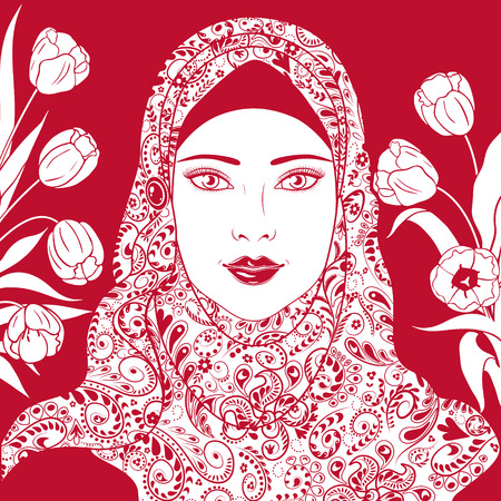 red lips: Red and white contour image of Muslim girl in hijab  decorated with tulips. Illustration