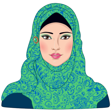 young woman: Image of Muslim girl dressed in blue-green hijab.