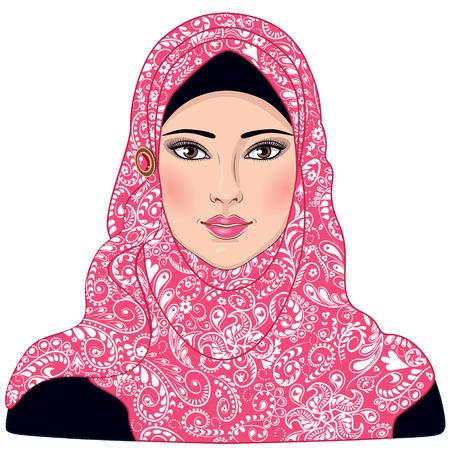 muslim fashion: Image of Muslim girl dressed in pink-white hijab. Illustration