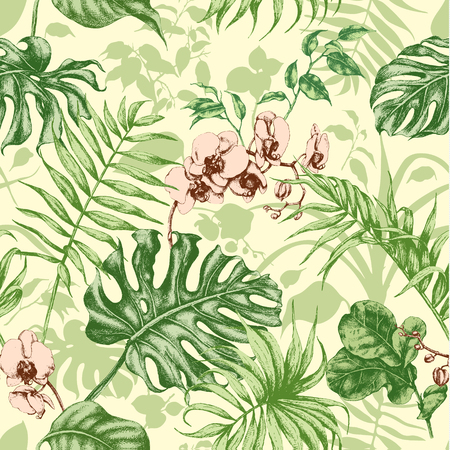 ficus: Hand drawn branches and leaves of tropical plants. Tropical plants seamless background.
