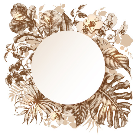 brown background: Hand drawn branches and leaves of tropical plants. Floral  frame with space for text.