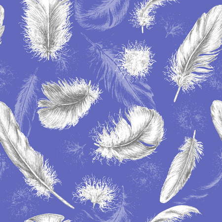 Hand drawn set of various feathers. Seamless background with flying white feathers on blue.