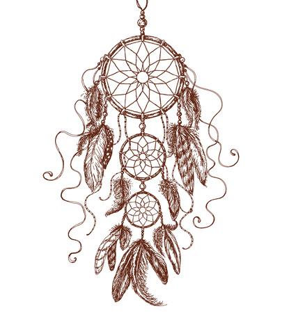 american dream: Hand Drawn Indian Amulet Dream Catcher. Illustration
