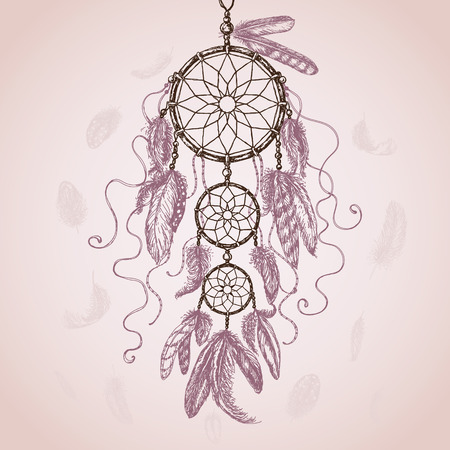 dreams: Hand Drawn Indian Amulet Dream Catcher with flying feathers on pink background. Vector sketch.