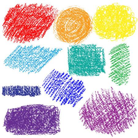 チョークのテクスチャの色のセット。手描き色白い背景に分離されたチョークで書かれたスポットです。