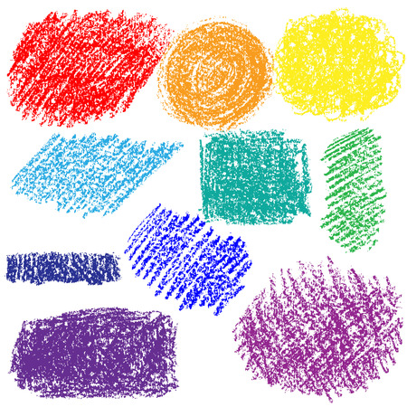 spot the difference: Colored set of chalk texture. Hand drawn colored chalked spots isolated on white background.