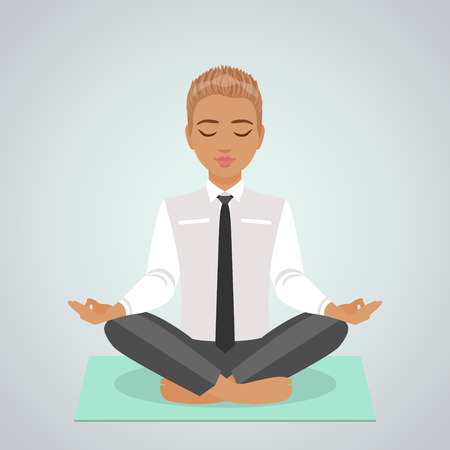 relaxed: The relaxed businessman meditating doing yoga in lotus position.