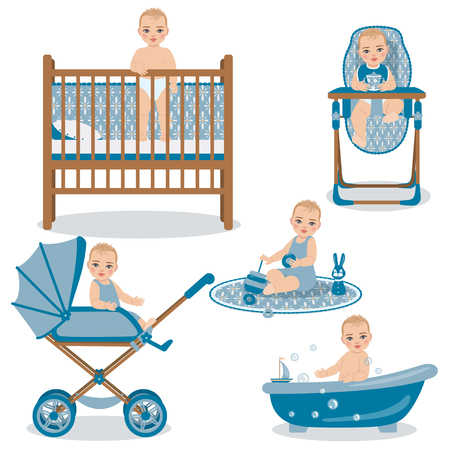 Set with cute baby in various position - awakening, sitting in a carriage and highchair, playing with toys and swimming in bath. The child activities in the first year from the birth. Illustration