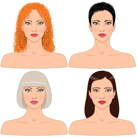 short: Simplified image of women with different hairstyles  isolated on white. Illustration