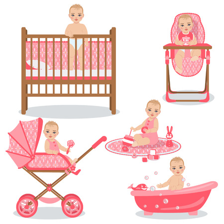 infant bathing: Set with cute baby girl in various position - awakening, sitting in a carriage and highchair, playing with toys and swimming in bath. The child activities in the first year from the birth.
