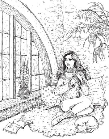 Het meisje met de beker zittend bij het raam. Zwart-wit voorgevormde illustratie voor het kleuren.