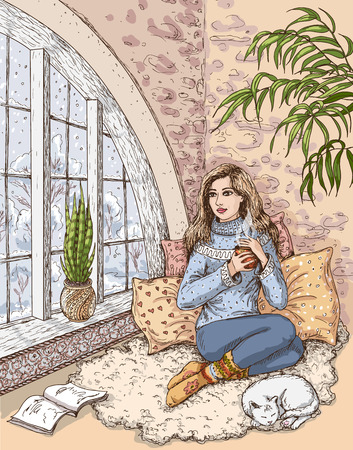 cat sleeping: The girl sitting near the window and holding the cup with hot drink. White cat sleeping on the carpet. Illustration