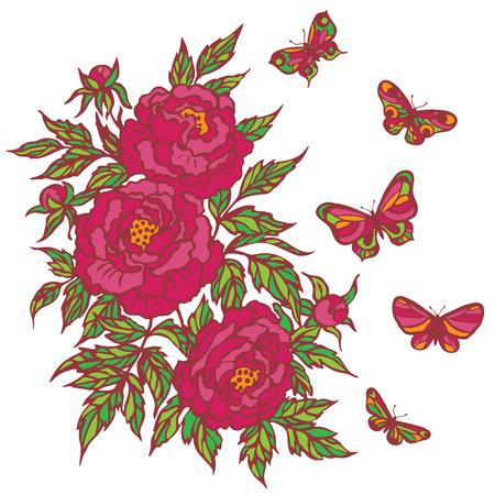 manojo de flor rosada del Peony y de las mariposas del vuelo aislados en blanco.