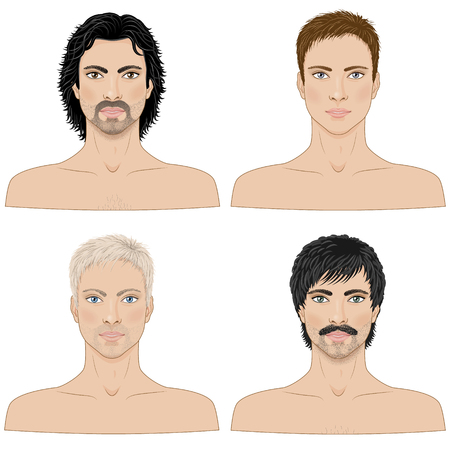 pintura en la cara: imagen simplificada de los hombres con diferentes cortes de pelo aislado en blanco. Vectores
