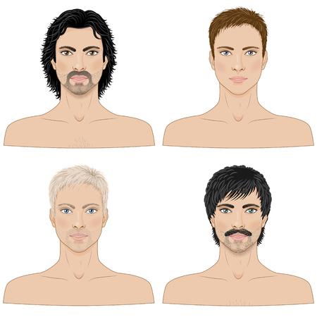 viso uomo: un'immagine semplificata degli uomini con diverse acconciature isolato su bianco.