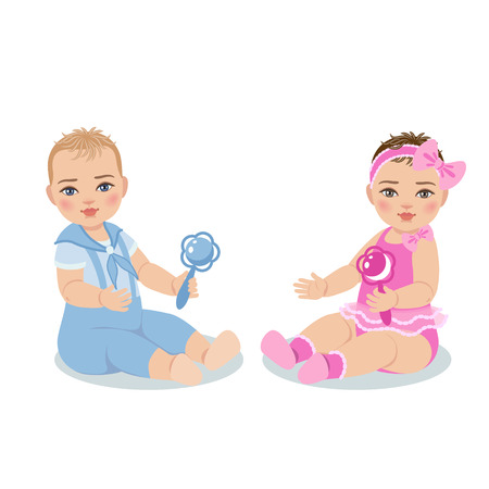 bebes niñas: niño lindo en traje azul y la niña en el vestido de color rosa aisladas sobre fondo blanco. El niño es el primer año desde el nacimiento.