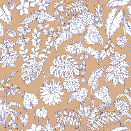 contoured: Pattern with contoured leaves and flowers on beige background. Seamless texture with tropical plants .