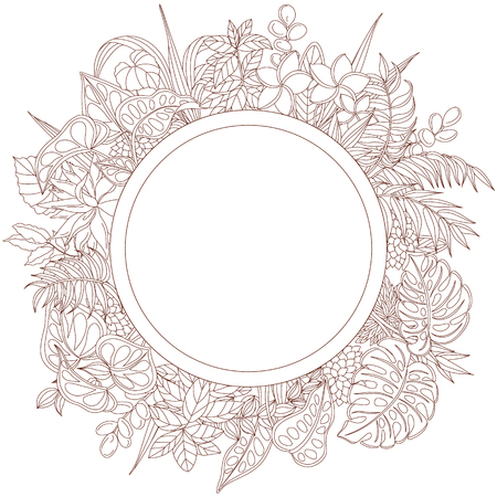black backgrounds: Round design with empty space for text. Tropical plant frame. Floral elements for coloring. Illustration