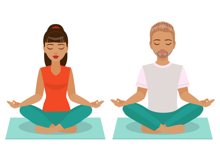 position: The young man and woman sitting and meditating in the Yoga Lotus position isolated on white background.